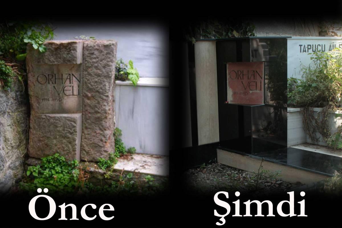 Orhan Veli'nin mezar taşı sanat eseri özelliğini kaybetti
